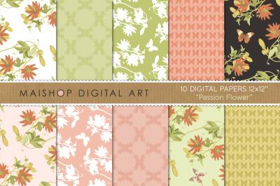Digital Paper Pack  I  Passion Flower