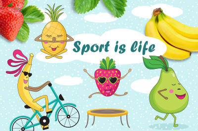 Funny sports fruits. Illustration and patterns