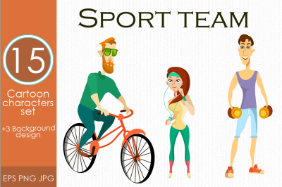 Fitness characters. Athletes set