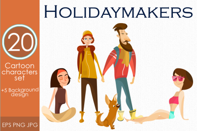 Holidaymakers. Characters vector set