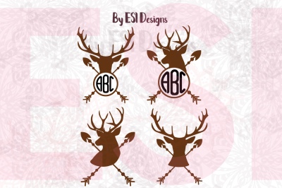 Arrow Deer Head Monogram Designs Set - SVG, DXF, EPS & PNG
