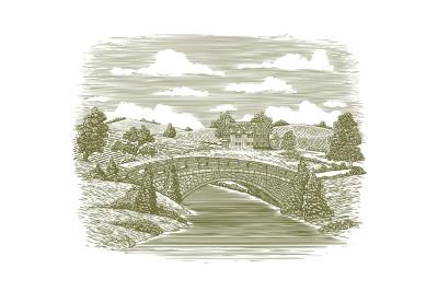 Woodcut Bridge Scene