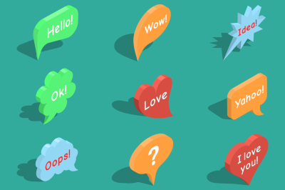 Set of isometric speech bubbles