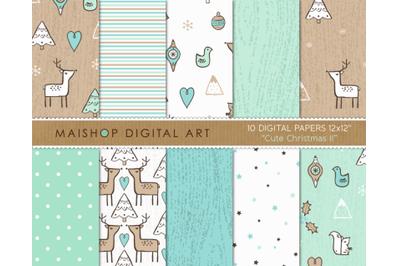 Digital Paper Pack  I  Cute Christmas II