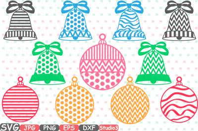Christmas Balls & bells SVG Silhouette Cutting Files Cricut Studio3 cameo vinyl Die Cut Machines monogram clipart bow New Year Ornament 684s