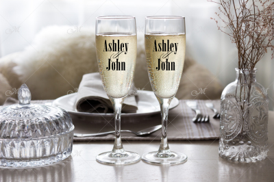 Champagne flutes, mockup stock photo