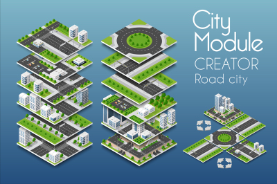 City module creator road city EPS, SVG, PNG