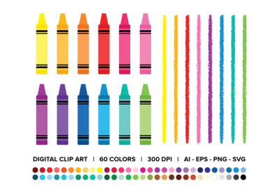 Crayon & Border Clip Art Set