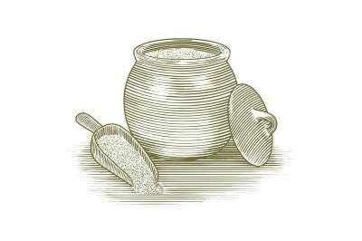Woodcut Flour Canister
