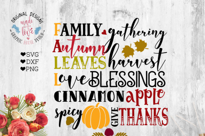 Autumn Fall Blessings Harvest Thanksgivings Cut File