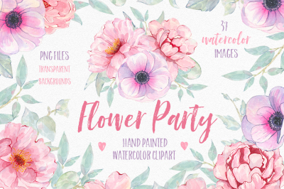 Watercolor Flower clipart graphic