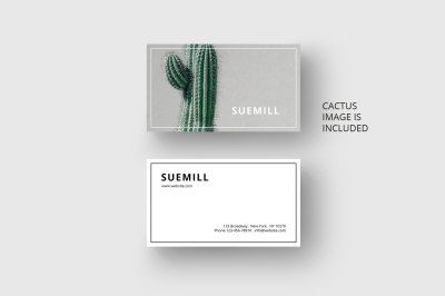 Business card template with cactus