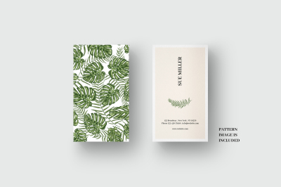 Business card template with palm and monstera leaf