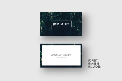 Business card template with forest background