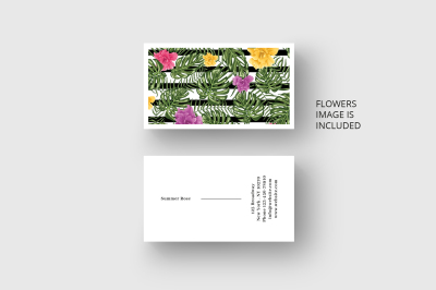 Business card template with palm, monstera leaves and flowers