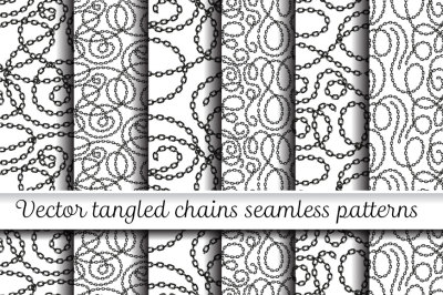 Vector tangled chains seamless patterns