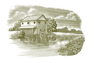 Woodcut Mill on River