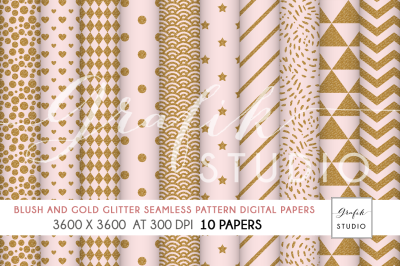 Blush and Gold Glitter Pattern Papers,Digital Paper, Seamless Pattern Pack