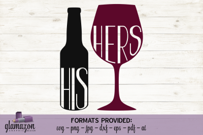 His-n-Hers Drinks - Beer and Wine - SVG DXF EPS PNG PDF JPG AI - cutting file