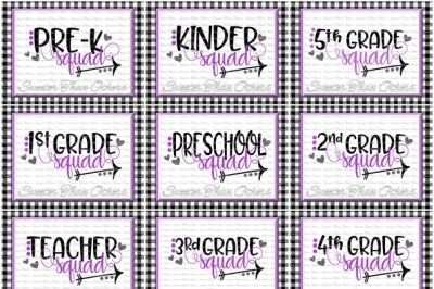 School Squad SVG Bundle Teacher Squad Svg, First Day of School SVG and DXF Files Silhouette Studios Cameo Cricut, Instant Download Scal