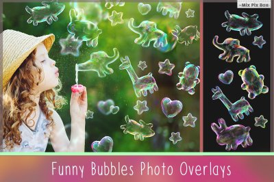 Funny Animals Soap Bubbles Overlay