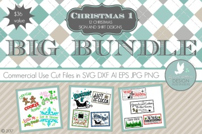 Christmas Bundle 1  LLCB1 Cut-Files in SVG DXF EPS AI JPG PNG