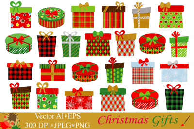 Christmas Gifts Clipart - Vector