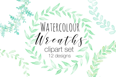 Watercolour Wreath Clipart Set