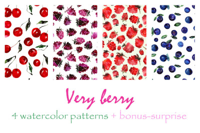 Very berry watercolor patterns