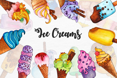 20 Watercolor Ice Creams