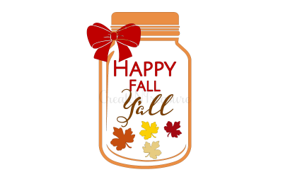 Happy Fall Y'all, Thanksgiving or Fall SVG DXF Cutting file for Silhouette or Cricut.