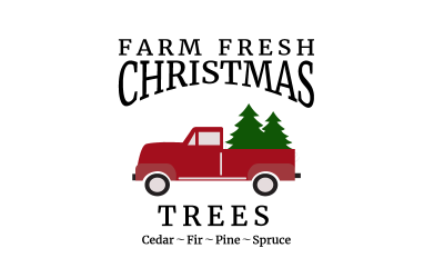 Christmas Tree svg, Vintage red truck svg. Cutting file for Silhouette and Cricut. SVG, DXF, PNG