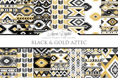Black and Gold Aztec Digital Paper