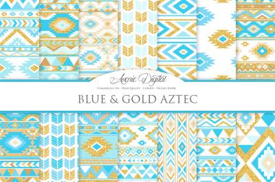Blue and Gold Glitter Aztec Digital Paper
