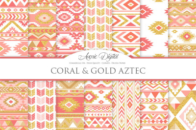 Coral and Gold Aztec Digital Paper