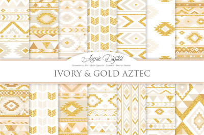 Ivory and Gold Aztec Digital Paper