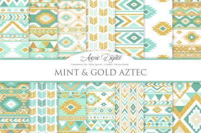 Mint and Gold Glitter Aztec Digital Paper