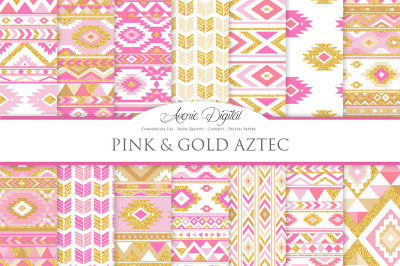 Pink and Gold Aztec Digital Paper