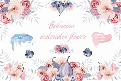 Bohemian watercolor flower Big Set