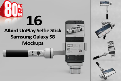Samsung Galaxy S8 Mockup + AIbird UoPlay Selfie Stick S