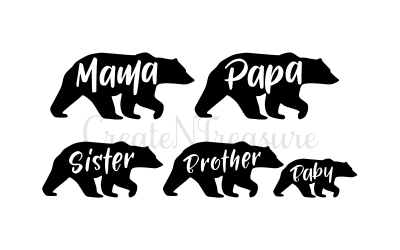 Mama Bear svg, Papa Bear svg. Cutting file for Cricut  and Silhouette Cameo. SVG, DXF.