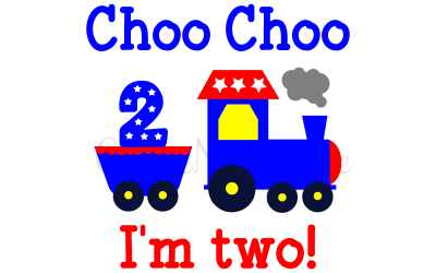 Choo choo I'm Two! Birthday svg, dxf. Cutting file for Cricut  and Silhouette Cameo.