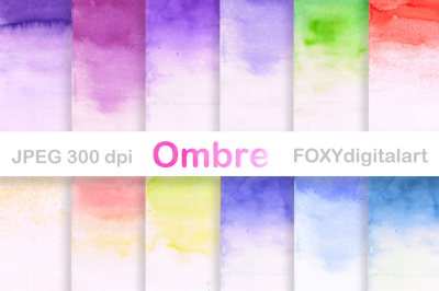 Watercolor Ombre Digital Paper Scrapbook
