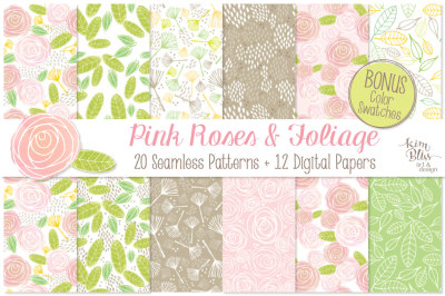 Pink Roses+ Seamless Patterns & Digital Papers