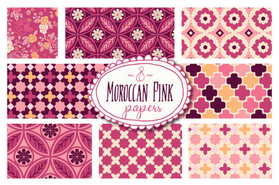 Moroccan Pink Seamless Patterns - Vector