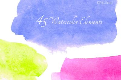 Watercolor Brush Strokes Clipart Scrapbooking
