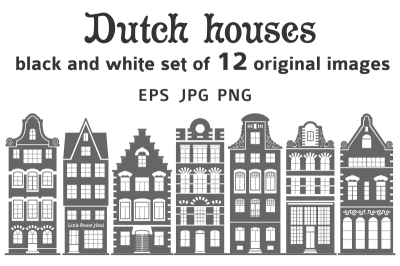 Set of 12 shapes Amsterdam old houses facades