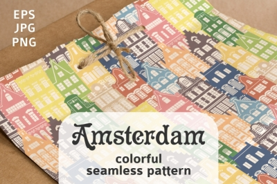 Seamless pattern of colorful shapes Holland houses