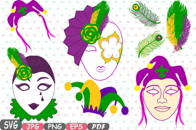 Props Mask Mardi Gras Masquerade Party Photo Booth Silhouette Costume Cutting Files SVG Vinyl Clip Art Antique ClipArt Retro -11P