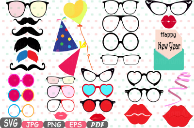 Party Photo Booth Prop Emoji Prop Silhouette Happy new year Cameo SVG stickers clipart face Clip Art Digital Graphics Commercial Use -4P